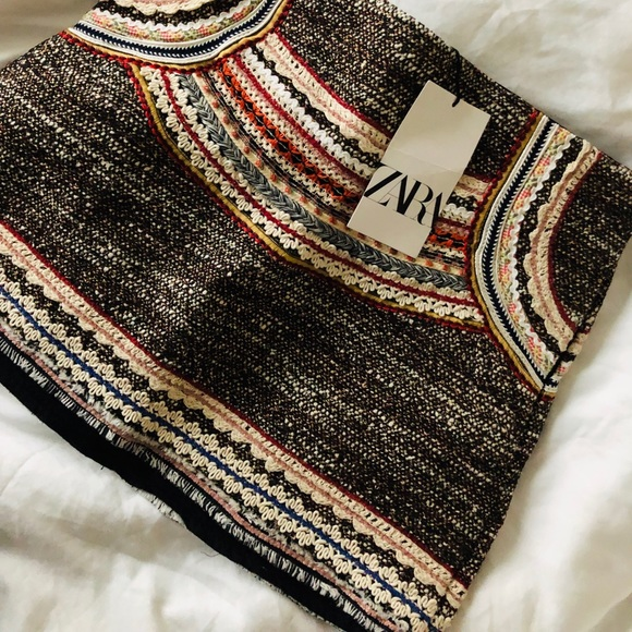 Zara Dresses & Skirts - Zara tweed striped crotchet miniskirt- small NWT